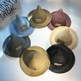 Wholesale Wholesale Straw Hats For Kids - 2017 new style stingy brim sun hats for children fashion straw hats designer pointed nipple hats for kids