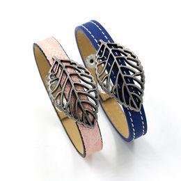 Wholesale Fashion Wrist Cuffs - New Arrival Fashion Alloy Leaves Charm Bracelets Hot PU Leather Single Lap Cuff Bangles For Women Beautiful Wrist Decoration Jewelry Gifts