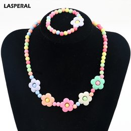 Wholesale Mixed Jewlry - LASPERAL Cute Candy Color Flower Shaped Jewelry Set For Necklace+Bracelet Jewelry Fashion Jewelry Sweater Chain Jewlry For kids