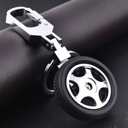 Wholesale Auto Tire Chains - Fashion Tire Keychain Auto Racing Parts Model Spin Rubber Wheel Tire Key Chain Ring Keyfob Free Shipping