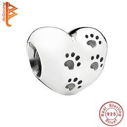 55e1ba240 animal 925 pandora charms Coupons - BELAWANG 925 Sterling Silver Animal  Footprint Beads Heart Shape Fit