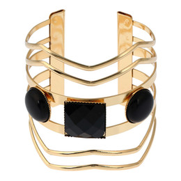 Wholesale Wide Sterling Bangle - hot sale fashion designer vintage bohemian Geometry multi layer resin woman metal open wide bangle cuff bracelet