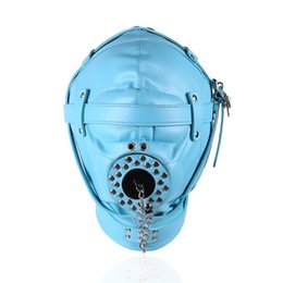 Wholesale Soft Leather Ball Gag - Sex Bondage Discipline Hood Soft Leather Sensory Deprivation Mask with Removable Mouth Cover Plug for Deep Throat three color