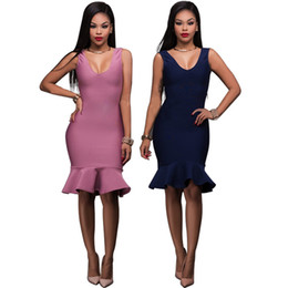 Wholesale Sexy Body Tight Dress - 2017 summer new fashion sexy tight body ladies lotus leaf dress V neck collar women solid color dress