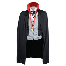 Wholesale Halloween Party Carnival Festival Adult Cosplay Men Vampire Costume Fancy Dress with Cape Stand Collar for Male