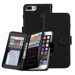 Wholesale Black Wallet Case - 9 Card Wallet Case For Iphone X 8 7 6 6s Plus Samsung S8 Plus Note 8 Leather Flip Case 2in1 Multi-function Magnetic Detachable Cover OPPBAG