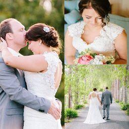 Wholesale Keyhole Real Wedding Dress - 2016 Full Lace Wedding Dresses Custom Size Real Photo Vintage Keyhole Back Wedding Dress Romantic Capped V Neck Plus Size Wedding Gown Ball