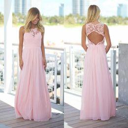Wholesale Royal Blue Maxi - 2018 Blush Pink Lace Chiffon Beach Bridesmaid Dresses Long Sleeveless Pregnant Jewel Open Back Country Maxi Bridesmaid Dress Under70