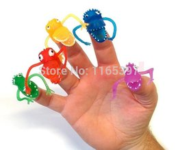 Wholesale Dinosaur Bags - Wholesale-Free ship 50x Cool New fright Dinosaur finger puppets assortment differ shapes colors loot pinata party bag fillers favor gifts