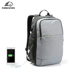 Wholesale Red Notebook Computer - Wholesale- Kingsons Brand External USB Charge Laptop Backpack Anti-theft Notebook Computer Bag 15.6 inch for Business Men Women