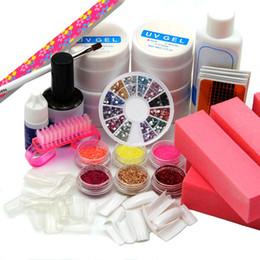 Wholesale Glue Kit Uv - Wholesale- 2016 Drop Shipping Pro Nail Art UV Gel 6 Glitter Nail Tips Glue acrylic Kit Tool 201 Set