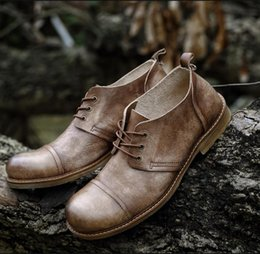 Wholesale First Sewing - New England Men Genuine Leather shoe Genuine Handmade shoes Big Head shoes Single shoes First layer Cowhide Business Spring and autumn Retro
