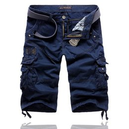 Wholesale Quality Tooling - Wholesale-Top Sell Men's Cargo Shorts Cropped Trousers Multi-pocket High Quality Solid Men Casual Loose Tooling Short Pants 6 Colors 29-38
