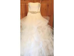 Organza vestido de noiva cintura natural on-line-2017 Real Made Tulle Vestido Straplesss vestido de Baile Caiu Organza Da Cintura Tule Plissado Plissados Vestidos de Casamento Robe De Mariee Vestido COR-583