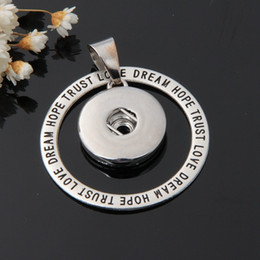 word round charms Coupons - Wholesale-New DJ0041 Round Words Metal snap Pendants fit 18mm snap buttons fashion DIY Fittings for necklace wholesale Charms