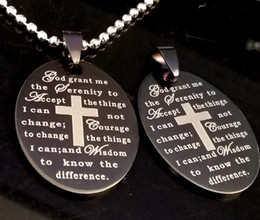 Wholesale prayer cross necklace - 20pcs English Serenity Prayer Bible Cross Stainless Steel pendant Necklaces W Chains Wholesale Men's Fashion Jesus Religious Jewelry Lots