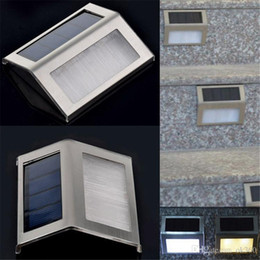 Wholesale Solar Stair Led Light - New Solar Power 2LED Outdoor Garden Pathway Stairs Lamp Light Energy Saving Solar Lamp Warm White White Solar Garden Light