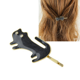 Wholesale Shape Hair Clip - Lovely Hair Jewelry Black White Color Enamel Cat Shape Barrettes For Women Hair Accessories for Fashion Lady