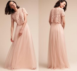 Wholesale Top Bridesmaid Dresses Two Color - Blush Pink Two Piece Bridesmaid Dresses 2017 Lace Top Short Sleeves A Line Tulle Maid Of Honor Gowns Cheap Wedding Guest Dresses