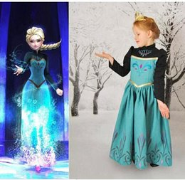 Wholesale Satin Capes Wholesale - Girls Elsa Coronation Dress Children Long Sleeve Elsa Costumes for Kid Girls Dress Cape Baby Girl Party Dress Birthday Gift