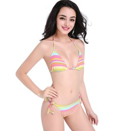 Wholesale String Bikini Girls - Girls Rainbow Striped Summer Outdoor Swimwear Triangle Swimsuit String Bikini Bottoms 2 Pc Set (S M L XL XXL) DF3
