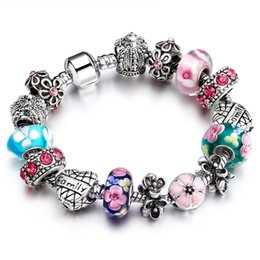 """Wholesale 925 Rings For Girl - New Arrival 925 Silver Heart Start Crystals """"Family"""" Colorful Girl Murano Beads Bracelet for New Year Gift AA81"""