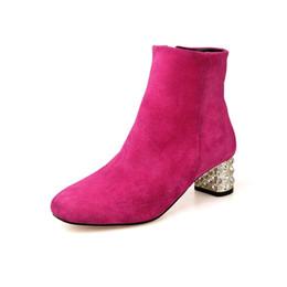 Argentina venta al por mayor 4 mujeres de color botines de cuero genuino de oro / plata talón cuadrado con diamantes de imitación botas para mujer más el tamaño 33-43 JD18A supplier rhinestone boots wholesale Suministro