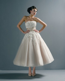 Wholesale Designer Shirts Images - Designer Strapless Ankle-Length Wedding Dresses 2017 Lace Applique Ball Gown Wedding Gown Short Puffy Bridal Dress