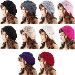 Wholesale Ladies Wool Church Hat - Women Baggy Beret Chunky Ladies Knitted Braided Beanie Winter Knit Hats Fashion Skull Caps Casual Elegant Hand Crochet Hats Wool Caps D530