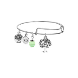 Wholesale indian bead tree - Korea fashion DIY tree of life wire bracelets for women and girls silver plated happy tree charms alloy bangles with green crystal beads