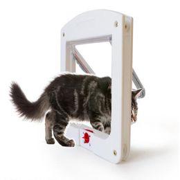 Wholesale Pet Doors - 4 Way Locking Pet Dog Cat Flap Door Doggy Lockable Magnetic Tunnel Frame Porte