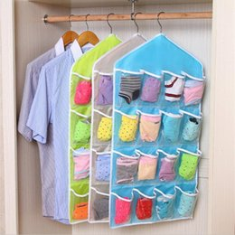 Wholesale Sort Shoes - Multifunction Clear Storage Bag 16 Pockets Socks Shoe Toy Underwear Sorting Storage Bag Door Wall Hanging Closet Organizer Folding F201785