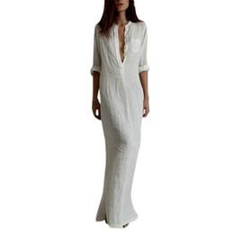 Wholesale Linen Summer Sundresses - Wholesale- Summer Beach Dresses Women Sexy Long Maxi BOHO Deep V-Neck Dress Cotton Linen Sundress