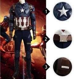 Wholesale Full Captain America Costume - Captain America Civil War Cosplay Costume Captain America Costume Adult Men Halloween Costume For Men