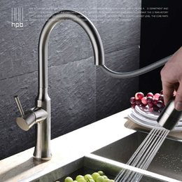 Wholesale Brushed Nickle Brass Pulls - Wholesale- HPB Brass Pull Out Spray Rotary Brushed Kitchen Faucet Sink Mixer Tap Single Handle Deck Mounted Hot And Cold Water HP4114