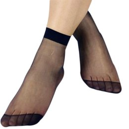 Wholesale Girls Transparent Socks - Wholesale-Moodeosa Casual Cotton 10 Pair  lot Sexy Women Summer style Black Khaki Sock Lady Girl Crystal Thin Transparent Silk Sock