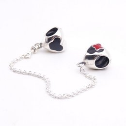 Wholesale Enamelled Heart Charms - Cartoon mouse safety chain heart charms Beads 925 sterling silver jewelry enamel cartoon beads For Brand bracelets DIY Making Accessories