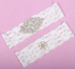 Wholesale Stockings Garter Free - Real Image Full Crystals Bridal Garters for Bride Lace Wedding Garters Free Shipping White Ivory Cheap Wedding Leg Garters In Stock