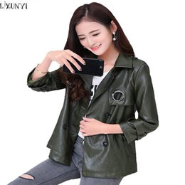Wholesale Korean Leather Overcoat - 5XL 6XL New 2017 Korean Leather Coats Ladies Casual Double Breasted Thin Loose Leather Overcoat Women Fashion Spring Jacket Coat
