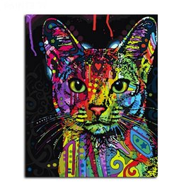 Wholesale Painting Multiple - Framed Abstract Animal Cat painting Modern HD Art Printed on High Quality Canvas Home Wall Decor Multiple Size