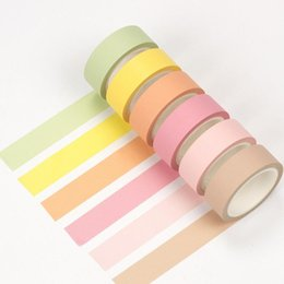 Wholesale Color Masking Tape - Wholesale- 2016 12 color Soft color paper washi tape 15mm*8m pure masking tapes Can torn Decorative stickers DIY Stationery school supplie