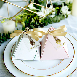Wholesale Chocolate Party Bags - Free shipping 50pcs lot Triangle Design wedding party gifts candy boxes chocolate box favor holders wholesales