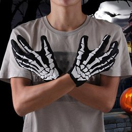 Wholesale Wholesale White Dress Gloves - Halloween Black White Skeleton Gloves Ghost Clothes Fitting Ghost Bones Fancy Dress Accessory Home Event Festive Party Supplies YYA310