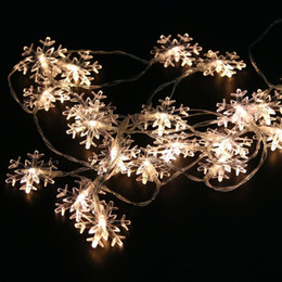 Wholesale Red Flakes - Wholesale- 2M 20Leds Christmas Tree Snow Flakes Led String Fairy Light Xmas Party Home Wedding Garden Garland Christmas Decorations