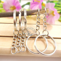 Wholesale Split Jump - Wholesale-100pcs Dia.25mm Split Keyring With 4 Link Chains+Small Jump Ring,Key Ring Chain Key Holder,Metal Keychain & Key Ring Accessory