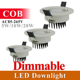 Wholesale Led Plafond - Wholesale- DHL Free Dimmable LED Downlight 5W 10W 20W COB Led Ceiling Recessed Spot Light Super Bright Plafond Down Light Warm Cold White