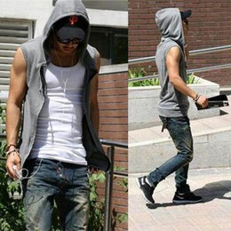 Wholesale Mens Slim Hoodies Wholesale - Wholesale- Mens Male Slim Fit Hooded Sweatshirt Fashion Vest BrandCasual Street Hip Hop Hoodie Sleeveless Jacket Vest 4 color