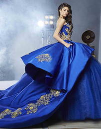 Wholesale Size 12 Girls Ball Gown - Luxury Detail Gold Embroidery Ball Gown Wedding Dresses with Peplum 2017 Masquerade Ball Gown Royal Blue Sweety 16 Girls Bridal Gownn