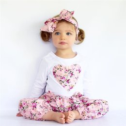 Wholesale Winter Set Design - INS 4 colors new styles autumn children's suits pure cotton long sleeves Love design T shirt +pants+headband three sets girls clothing