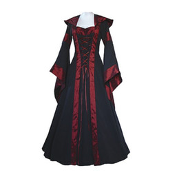 Средневековые платья для женщин онлайн-Wholesale- Medieval Dress New Women Vintage Style Gothic Dress Costume Pirate Ball Gown Peasant Wench Victorian Dress